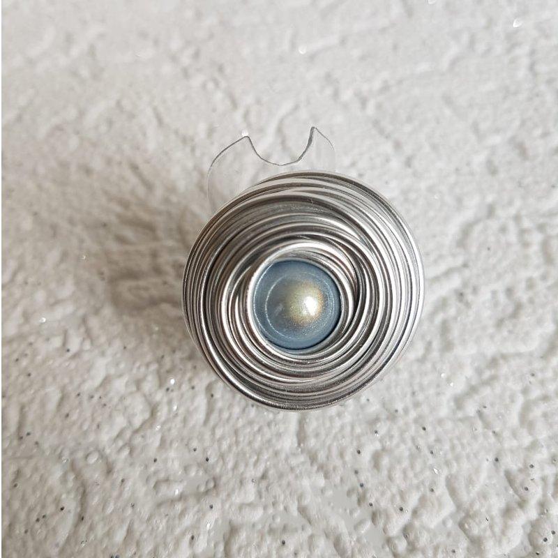 Ring zeitlos in platin mit Perle skyblue - beautiful